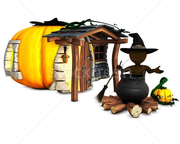 3D férfi boszorkány üst 3d render kalap Stock fotó © kjpargeter