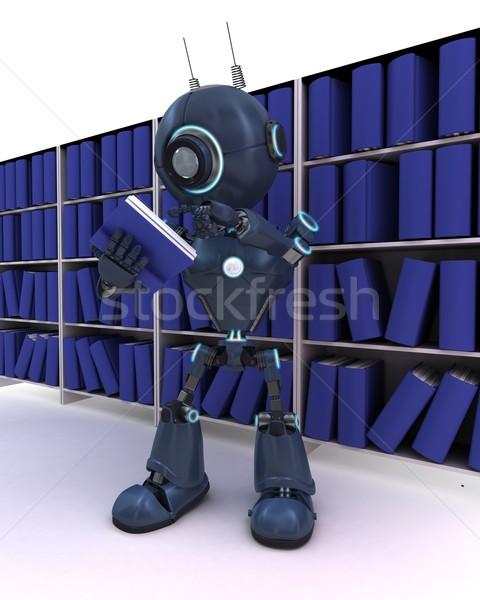 Android kitaplık 3d render okul eğitim robot Stok fotoğraf © kjpargeter