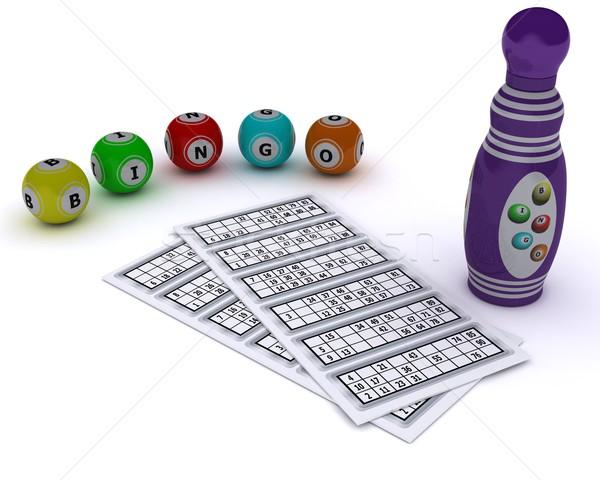 Bingo kaart pen 3d render bal Stockfoto © kjpargeter