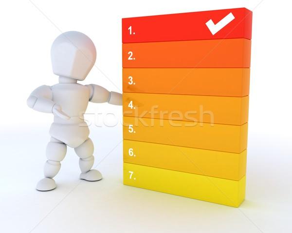 男 リストを行うには 3dのレンダリング チェック ストックフォト © kjpargeter