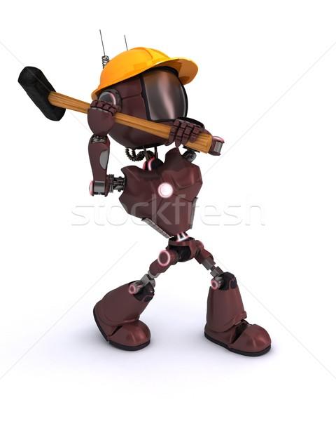 Android budowniczy 3d człowiek młotek narzędzie Zdjęcia stock © kjpargeter