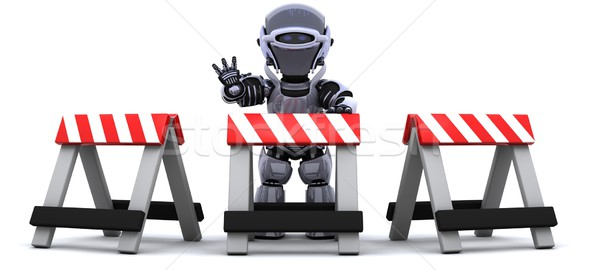 robot behind a barrier Stock photo © kjpargeter