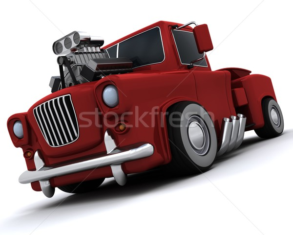 Charicature of supercharged 50's classic pickup truck Stock photo © kjpargeter