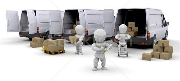 Foto d'archivio: Consegna · flotta · lavoratori · scatole · uomo · squadra