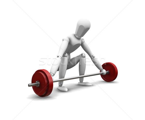 Súlyemelés 3d render férfi fehér súly diéta Stock fotó © kjpargeter
