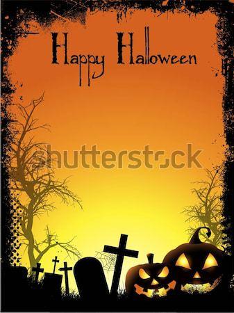 Grunge halloween kruis maan nacht vallen Stockfoto © kjpargeter