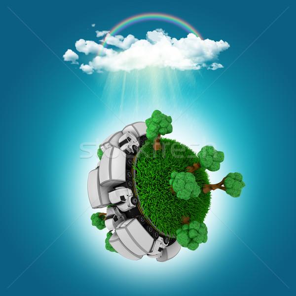 Rendu 3d herbeux monde camions arbres pluie Photo stock © kjpargeter