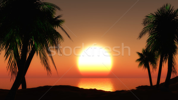 3D sunset landscape Stock photo © kjpargeter