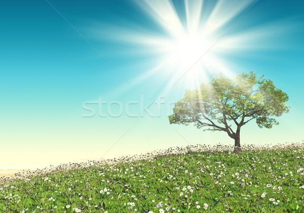 3D tree landscape Stock photo © kjpargeter