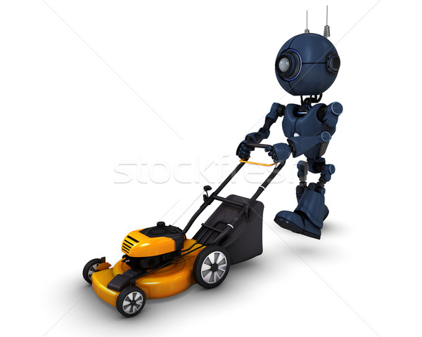 Android with lawn mower Stock photo © kjpargeter