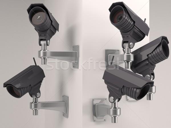 кабельное телевидение камеры безопасности 3d визуализации технологий безопасности посмотреть Сток-фото © kjpargeter
