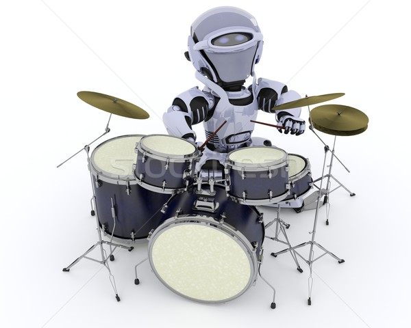 Robot with Drum Kit Stock photo © kjpargeter