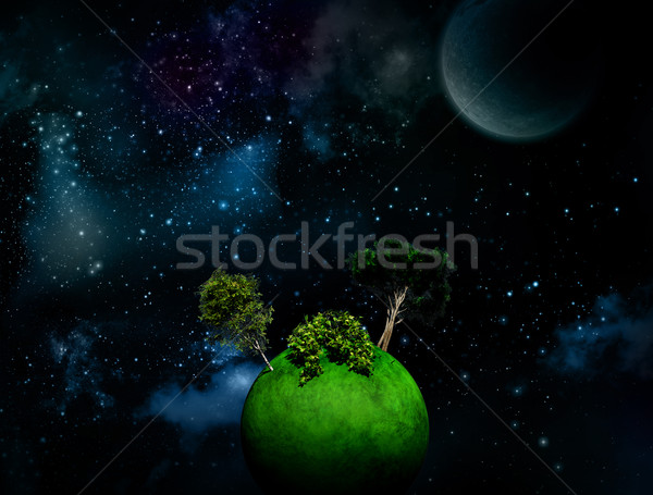 Surreale spazio alberi erboso mondo Foto d'archivio © kjpargeter