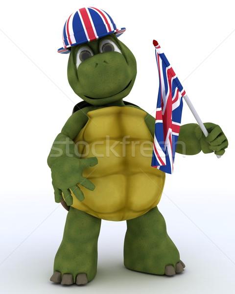 Teknősbéka brit zászló kalap zászló 3d render víz Stock fotó © kjpargeter