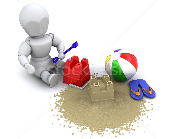 man building sandcastle with bucket and spade Stock photo © kjpargeter
