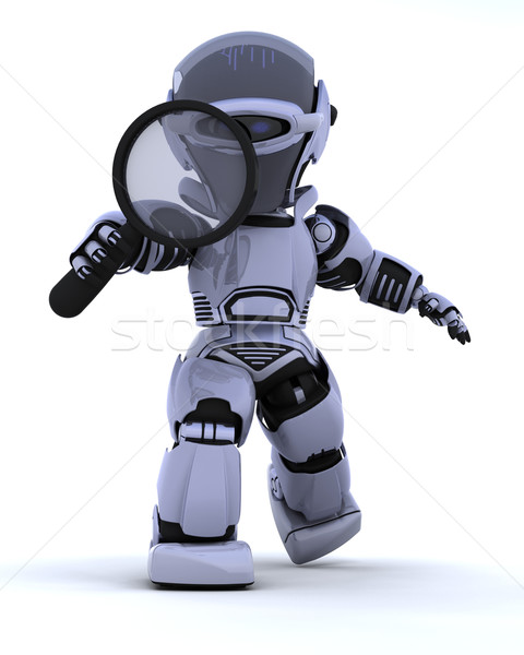 Robot with magnifying glass Stock photo © kjpargeter