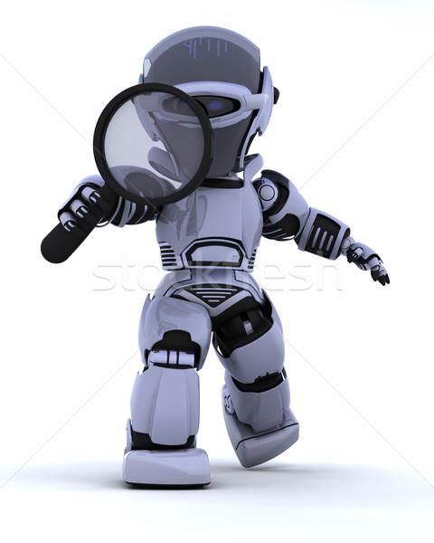 Robot nagyító 3d render keres jövő keresés Stock fotó © kjpargeter