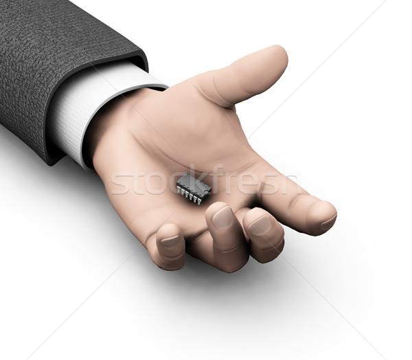 Mikrocsip kéz 3d render üzlet számítógép fehér Stock fotó © kjpargeter