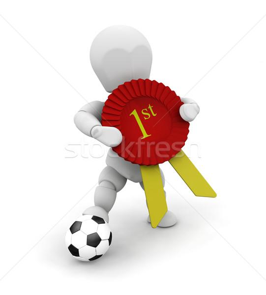 ストックフォト: 勝者 · 3dのレンダリング · 誰か · サッカー · 最初 · 賞