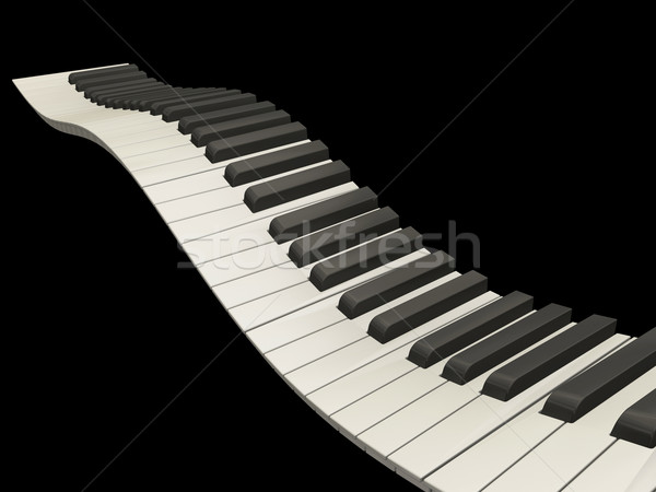 Golvend pianotoetsen 3d render abstract piano concept Stockfoto © kjpargeter