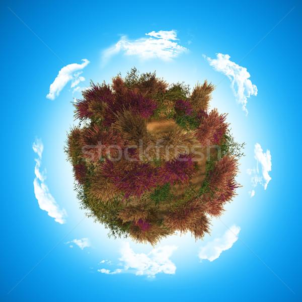 3D wereldbol varen 3d render wolken abstract Stockfoto © kjpargeter
