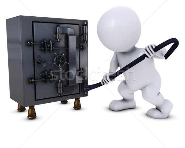 3D Morph Man breaking into a safe Stock photo © kjpargeter