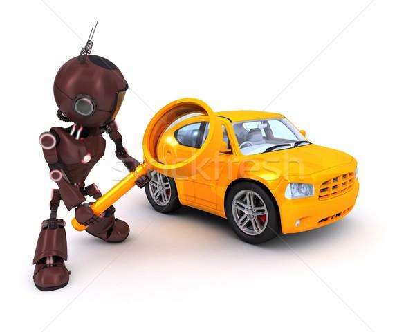Android arama araba 3d render Internet robot Stok fotoğraf © kjpargeter