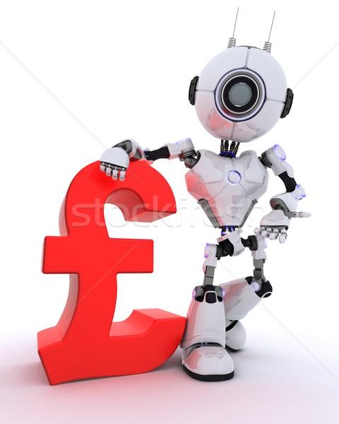 Robô libra assinar 3d render homem financiar Foto stock © kjpargeter