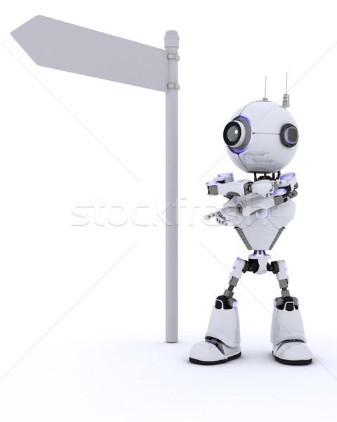 Stok fotoğraf: Robot · yol · işareti · 3d · render · adam · seyahat · gelecek