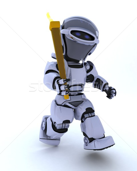 Robot ejecutando antorcha 3d deporte ejecutar Foto stock © kjpargeter
