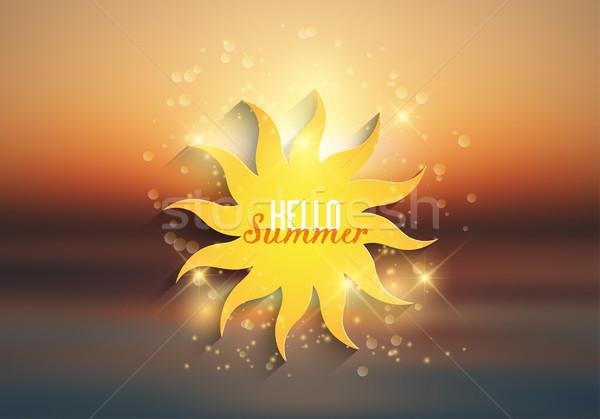 Hello nyár dekoratív nap ikon tengerpart Stock fotó © kjpargeter