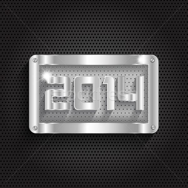 Metaliczny nowy rok szczęśliwego nowego roku projektu tle przemysłowych Zdjęcia stock © kjpargeter