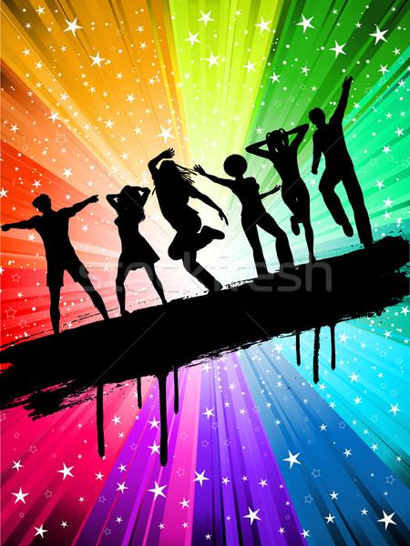 Buli sziluettek emberek tánc csillagos lány Stock fotó © kjpargeter