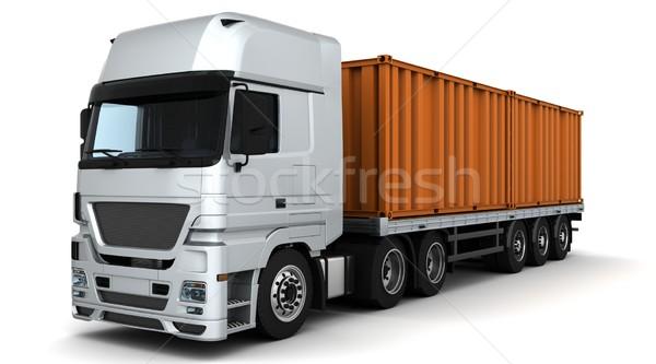 Konténer házhozszállítás jármű 3d render teherautó utazás Stock fotó © kjpargeter