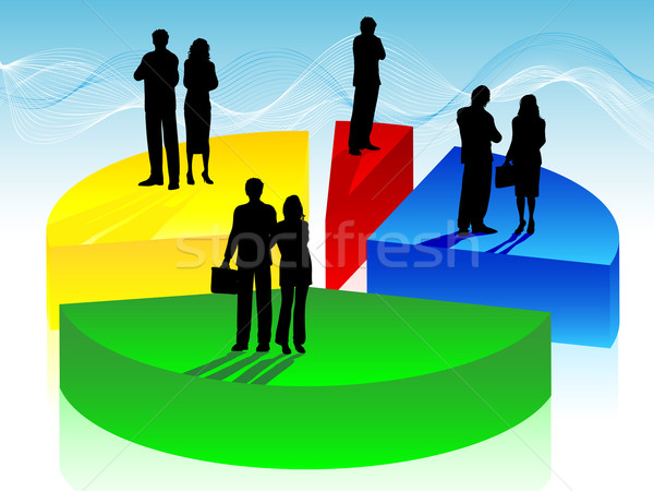 Zakenlieden cirkeldiagram silhouetten business man achtergrond Stockfoto © kjpargeter