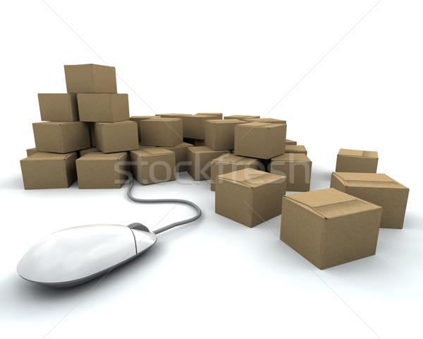 Photo stock: Internet · livraison · rendu · 3d · cases · souris