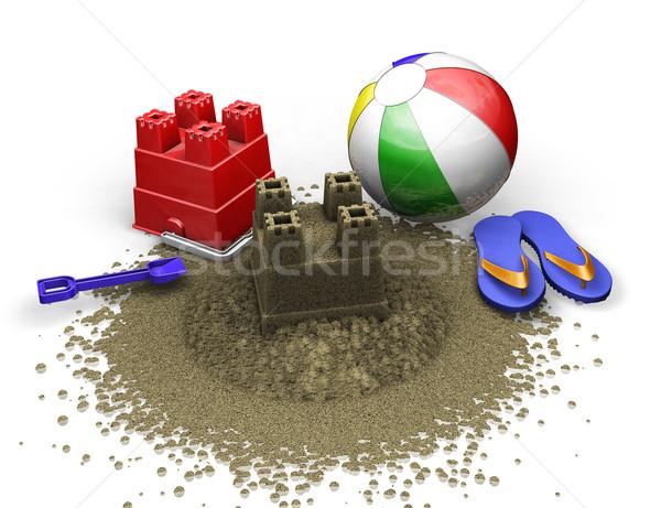 Playa 3d verano arena objeto cubo Foto stock © kjpargeter