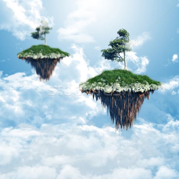 Floating islands in the clouds Stock photo © kjpargeter