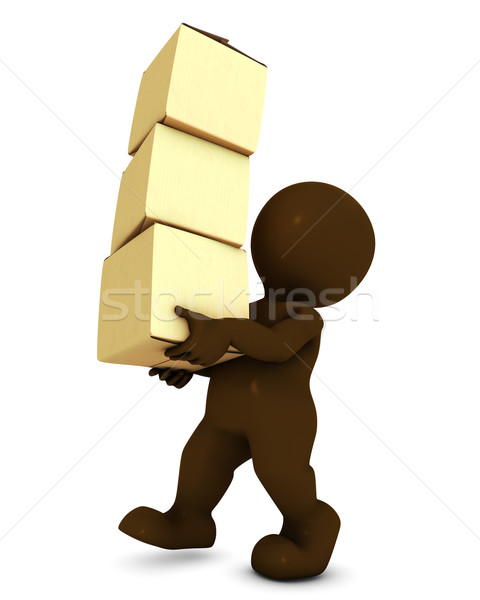 3D Morph Man Carrying Boxes Stock photo © kjpargeter