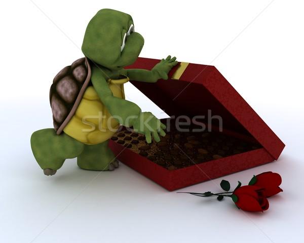черепаха романтические подарок 3d визуализации шоколадом океана Сток-фото © kjpargeter