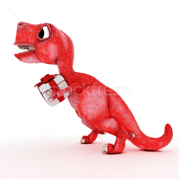Friendly Cartoon Dinosaur with gift box Stock photo © kjpargeter