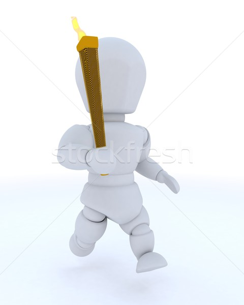 Hombre ejecutando antorcha 3d ejecutar Foto stock © kjpargeter