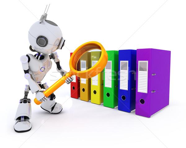 Robot zoeken bestanden 3d render man toekomst Stockfoto © kjpargeter