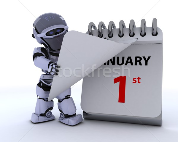 robot with a calender Stock photo © kjpargeter