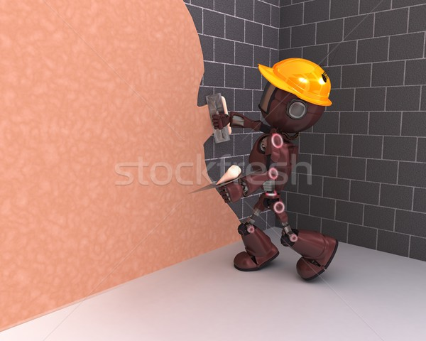 Android plastering a wall Stock photo © kjpargeter