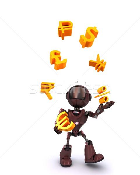 Android zsonglőrködés pénzügyek 3d render férfi pénzügy Stock fotó © kjpargeter