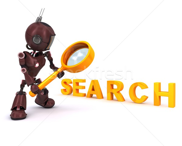 Android searching with magnifying glass Stock photo © kjpargeter