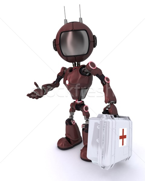 Android paramedic with first aid kit Stock photo © kjpargeter