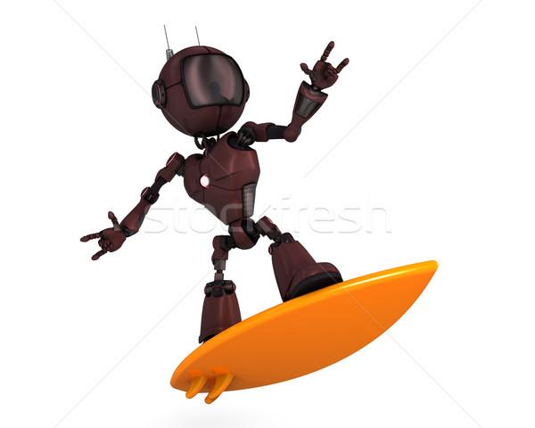 Android surfer 3d plaży człowiek morza Zdjęcia stock © kjpargeter