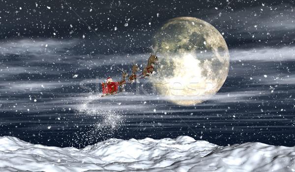 Ciel de la nuit rendu 3d battant ciel neige Photo stock © kjpargeter